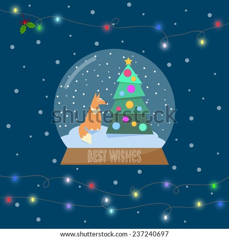 illustration with ginger fox and spruce in glass bowl with snow and shining lights on the garland for winter holidays greeting card. Raster copy