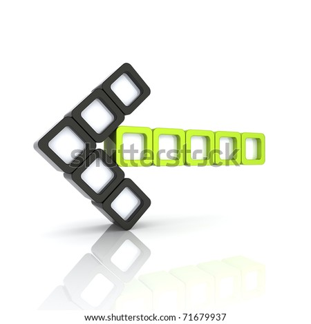 Illustration with green arrow from blocks left - stock photo