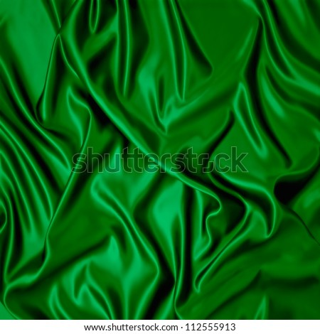 Illustration with green silk cloth with folds.