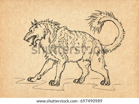 Illustration with hand-drawn Beast of Gevaudan. Mystical creature and legendary beast. Ancient myths and legends. French mythology and folklore. Vintage sketch drawing. Concept art.