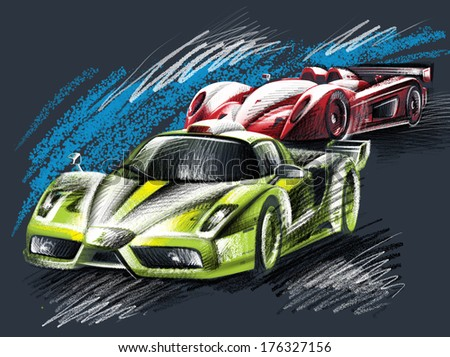 Illustration with hand-drawn sports cars green and red Car racing competitions Picture-in-graphic technique resembles a sketch with rough strokes Large lettering on the poster Words numbers