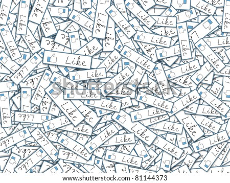 Illustration with lots of like tags depicting global communication and social networking