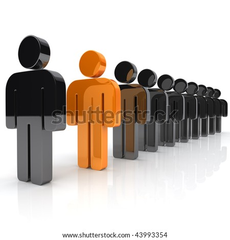 Illustration with many businessmen and unique orange businessman