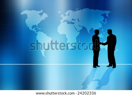 illustration with map of world and businessmen silhouettes as global business concept