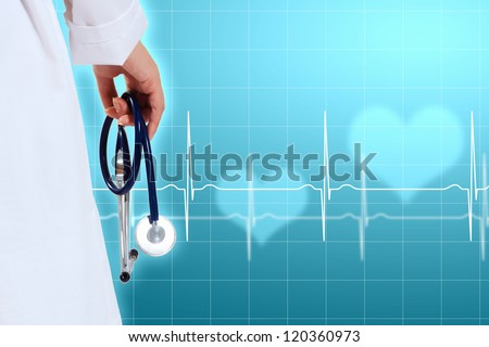 Illustration with medical background having heart beat, doctor and stethoscope