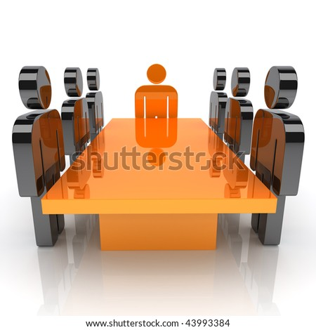 Illustration with meeting of staff and leader (orange)