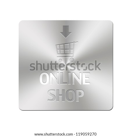 Illustration with metal button of online shop.