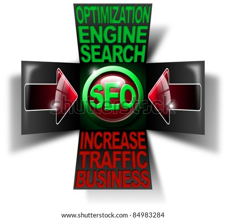 Illustration with open cube, icon S.E.O., 2 red arrows and written business search engine optimization traffic increase