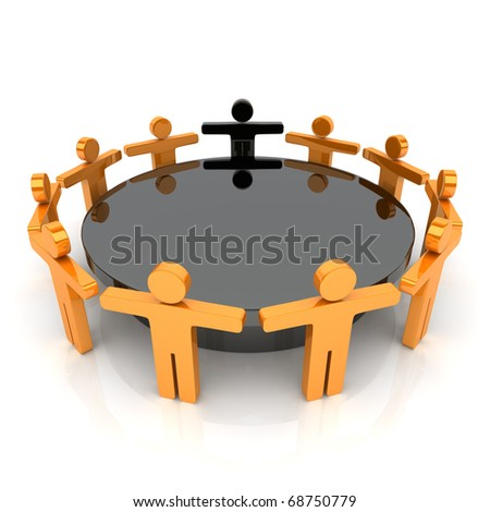 Illustration with orange business guys (meeting concept)