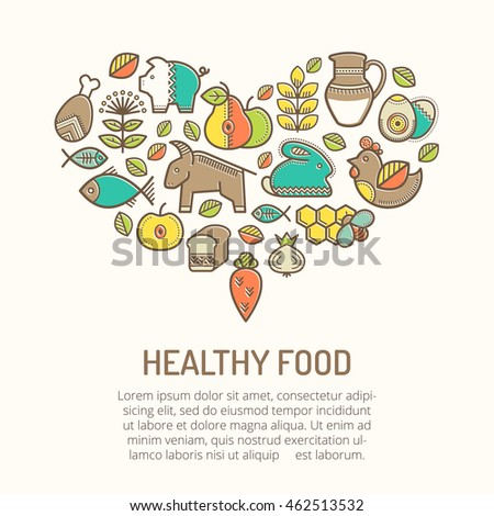 Illustration with outlined healthy food icons in creative ethnic style. Nutritional emblems forming a heart shape. Happy babyish color palette