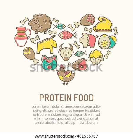 Illustration with outlined protein food icons in creative ethnic style. Nutritional emblems forming a heart shape. Happy babyish color palette