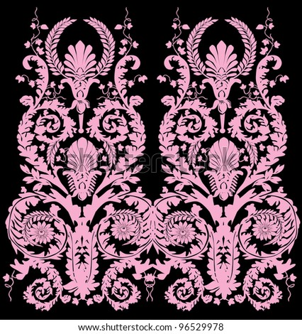 illustration with pink vertical design isolated on black background