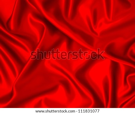 Illustration with red silk cloth with folds.