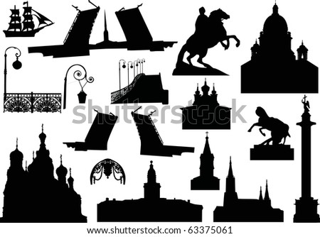 illustration with saint-petersburg architecture silhouettes isolated on white background