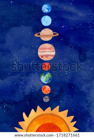 Illustration with solar system planets on a watercolor blue background. Kids gouache hand painted cosmic poster or card. ストックフォト ©
