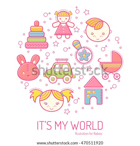 Illustration with stroked children's icons forming a circle. Happy and bright babyish color palette. Cute contoured signs in modern flat style