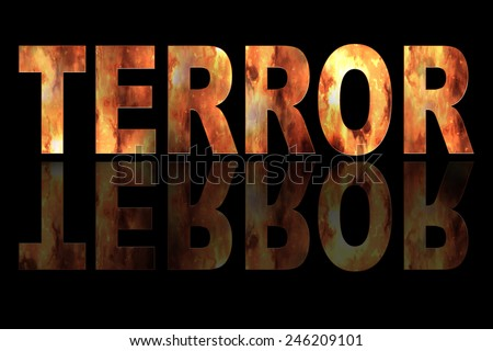 Illustration with text TERROR and fire on black background #246209101