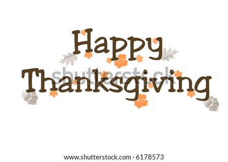 Illustration with the words Happy Thanksgiving on a white background.