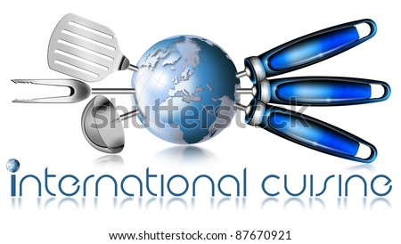 "Illustration with three kitchen tools and globe with written ""international cuisine"""