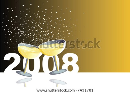Illustration with two glasses of champagne in a new year celebration. - stock photo