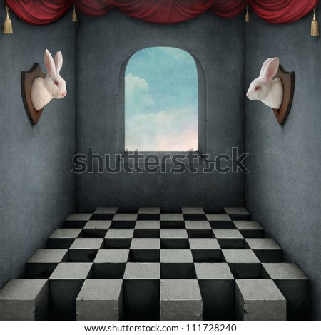 Illustration with two rabbits in  room - stock photo