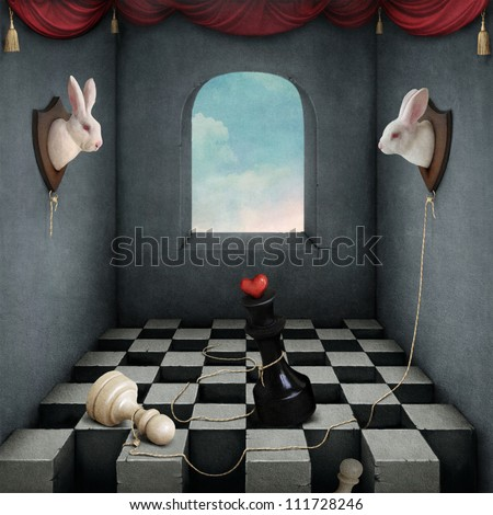 Illustration with two rabbits playing chess in  room.