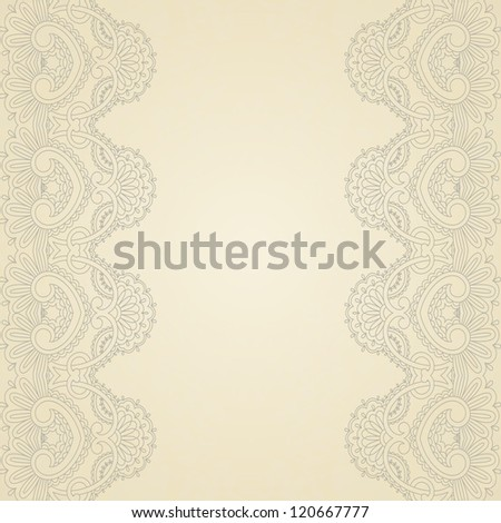 Illustration with vintage pattern for print, embroidery. Raster version.