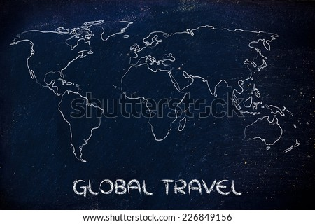 illustration with world map, global business and worldwide opportunities