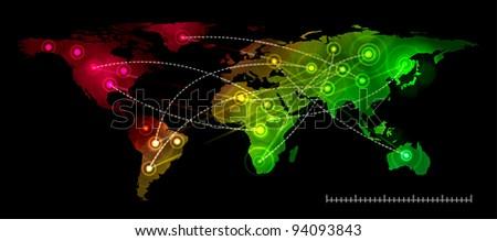 Illustration world map on black. Concept communication.