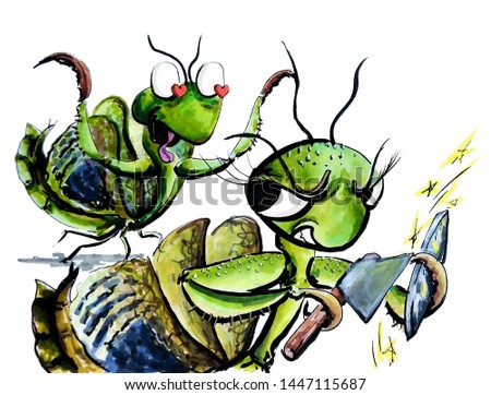 illustrations cartoon mantis caricature book
