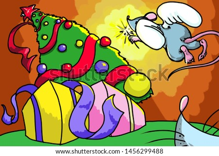 illustrations cartoon new year  mouse caricature book