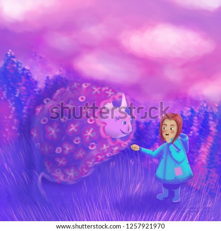 Illustrations for children's stories. Book illustration. A cozy illustration for printing on souvenirs. Purple whale and girl.