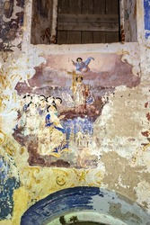 illustrations from the Bible on the wall of an abandoned church, the village of Nikitskoye, Kostroma province, Russia. The year of construction is 1789. Currently, the temple is abandoned.