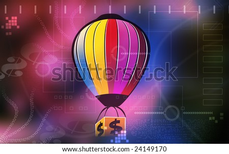 Illustrations of  a multi coloured air balloon carrying  a dollar box