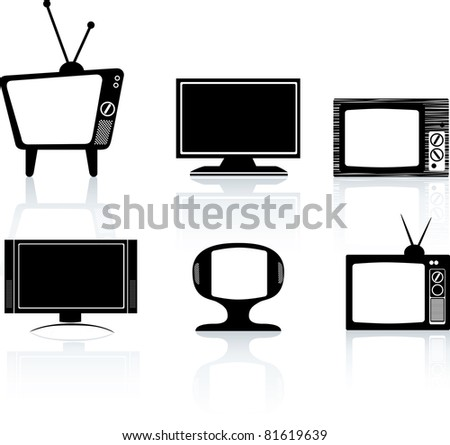 illustrations of different styles of tv television set