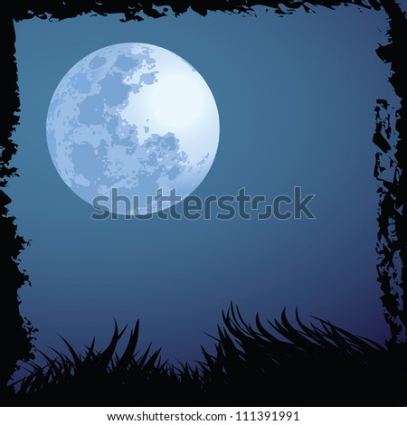 illustrations of halloween night with blue moon