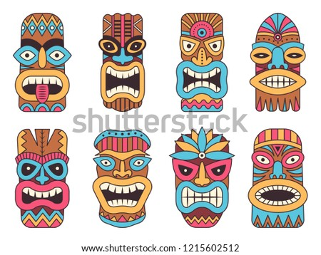 Illustrations of hawaiian tiki god. Tribal totem mask, totem tribal colored face