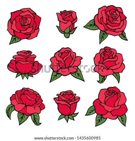 Illustrations of plants. Red roses symbols of love. Wedding flowers isolate on white. Floral flower rose of collection