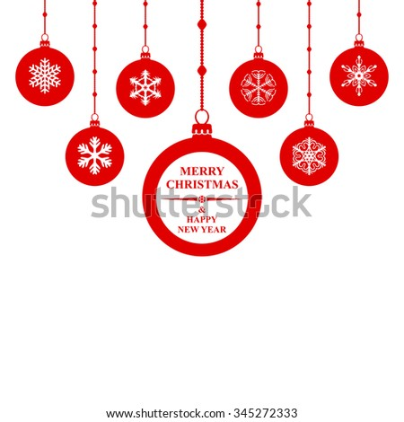 illustrations of silhouette Christmas congratulatory red balls hanging on white background