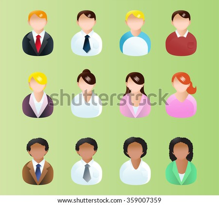 illustrations of variety business man and business woman icon avatar for application project