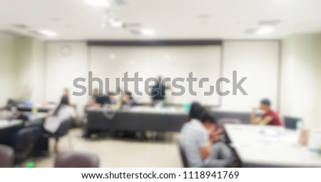 Illustrations or backgrounds, events of a group of people who are discussing business decisions, backgrounds in a blurred manner.