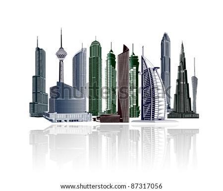 illustrative city buildings