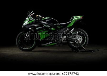 illustrative editorial. Kawasaki ninja 300 in Bangkok Thailand. 15 July 2017