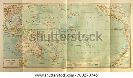 ILLUSTRATIVE EDITORIAL. Old map of the Oceania. Circa 1885. Kiev, Ukraine December 23, 2017