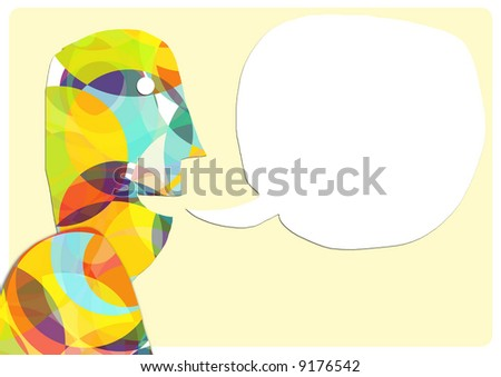 Illustrative figure with a blank bubble speech. Artwork is done to simulate a paper-cut sticker / craft styling. - stock photo