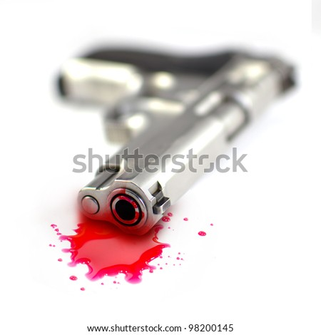 Illustrative styled photograph of a hand gun and blood, on a white background.