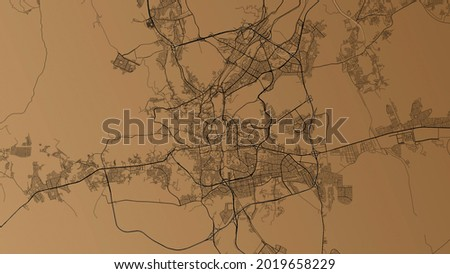 Ilustration monochrome city map of Mecca, Saudi Arabia. It shows the road and the whole city of Mecca. Suitable for backgrounds.