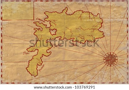 Ilustration of a treasure map showing island with coast and compass star done in vintage style.