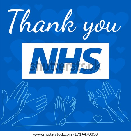 Ilustration of clapping hands and text saying thank  concept of clap for carers, round of applause for NHS workers, staff,  and volunteers who work hard during covid-19 coronavirus pandemic outbreak