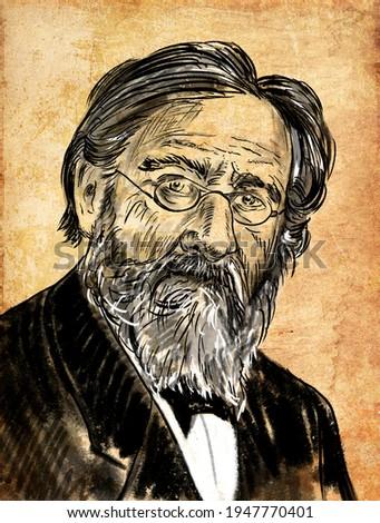 Ilya Ilyich Mechnikov was a Russian Imperial zoologist of Moldavian and Ukrainian Jewish origin best known for his pioneering research in immunology. Zdjęcia stock ©